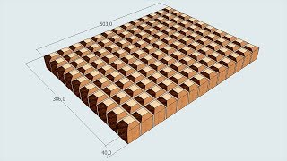 3D end grain cutting board #15. Version for woodworkers