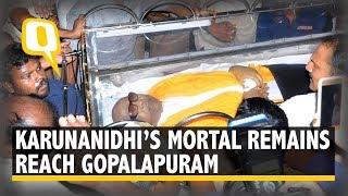 Karunanidhi's Mortal Remains Reach His Residence in Gopalapuram | The Quint