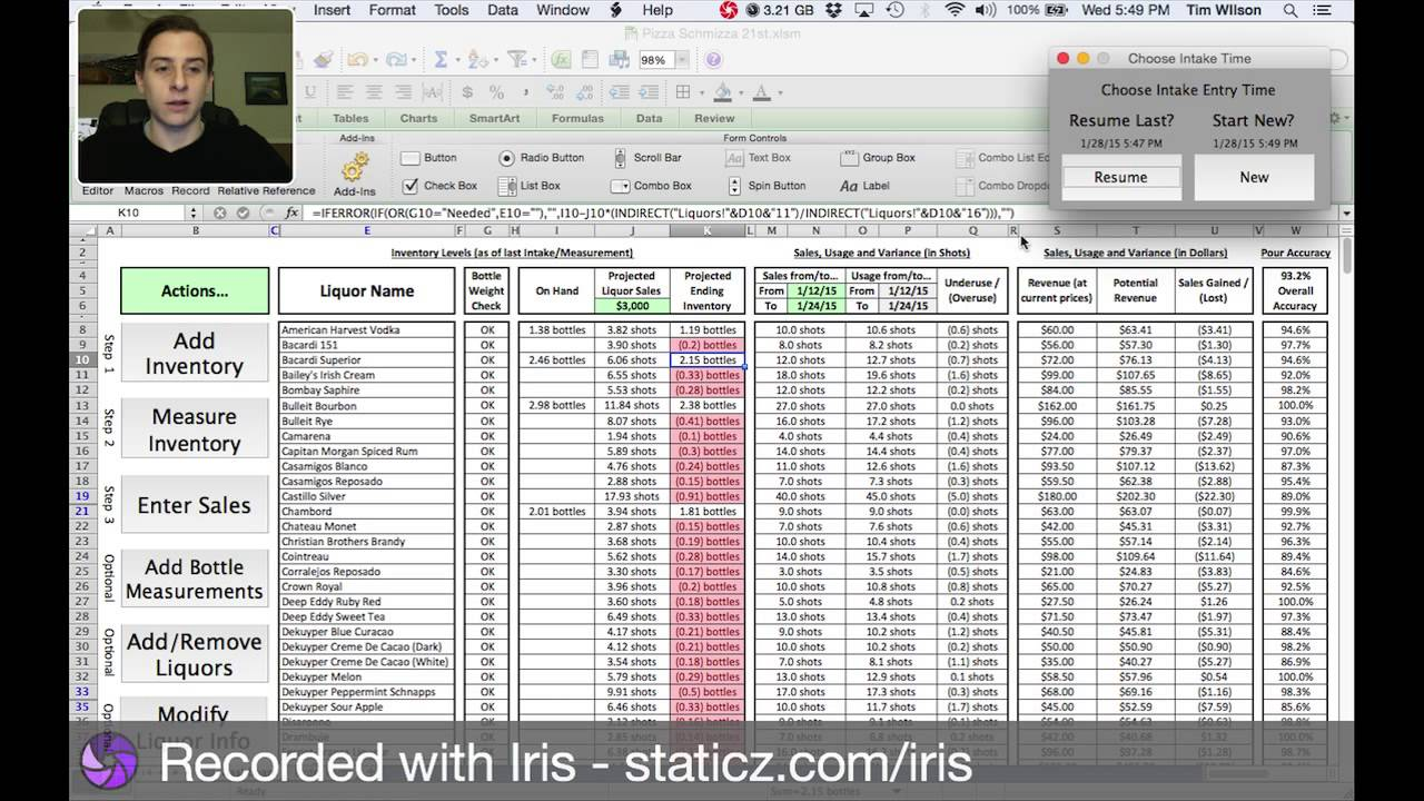 Tim Wilson's Liquor Inventory Control Spreadsheet Demo - YouTube