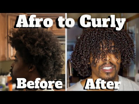 MEN'S CURLY HAIR ROUTINE | How To Make Hair Curly | AFRO TO CURLY