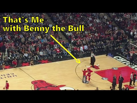Half-court shot competition during the Chicago Bulls game at the United Center [CC]