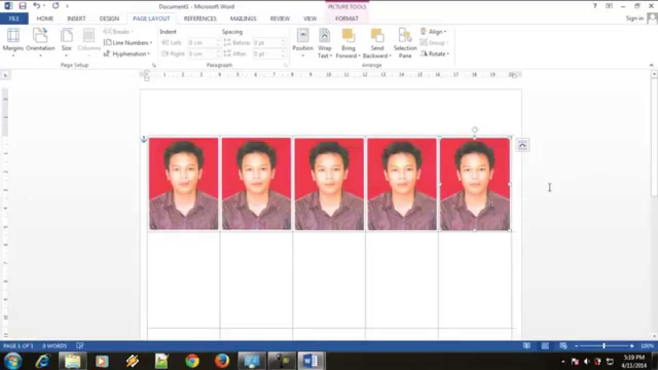 Cara Membuat Pas Photo 4x6 Dengan Ms Word Youtube