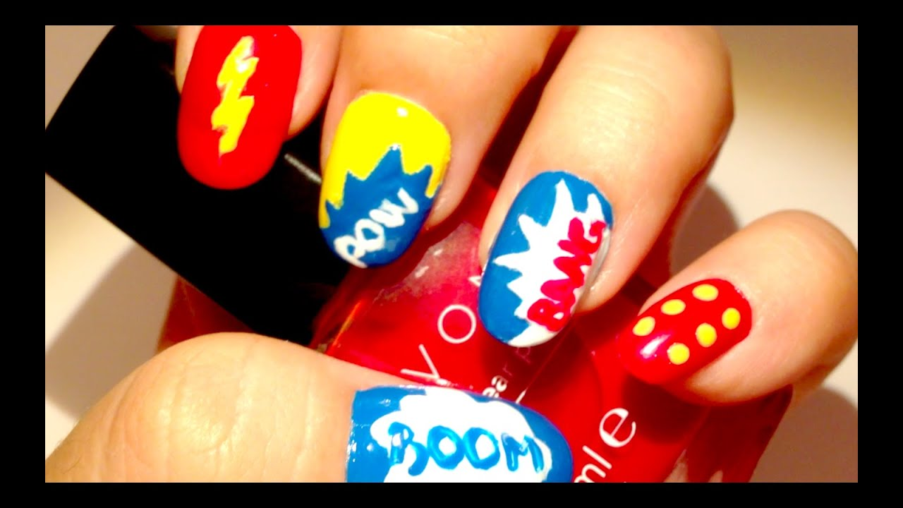 Superhero Nails - Easy Nail Tutorial For Beginners!! - Superhero Nails - Easy Nail Tutorial For Beginners!! - YouTube