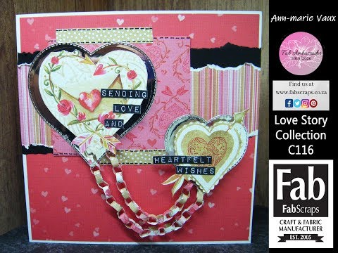 13.Cardmaking Tutorial: FabScraps Love Story Double Heart Paperchains Card