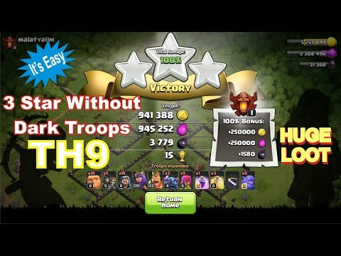 Th9 Attack Strategy Without Dark Troops at Champions League | Clash of Clans