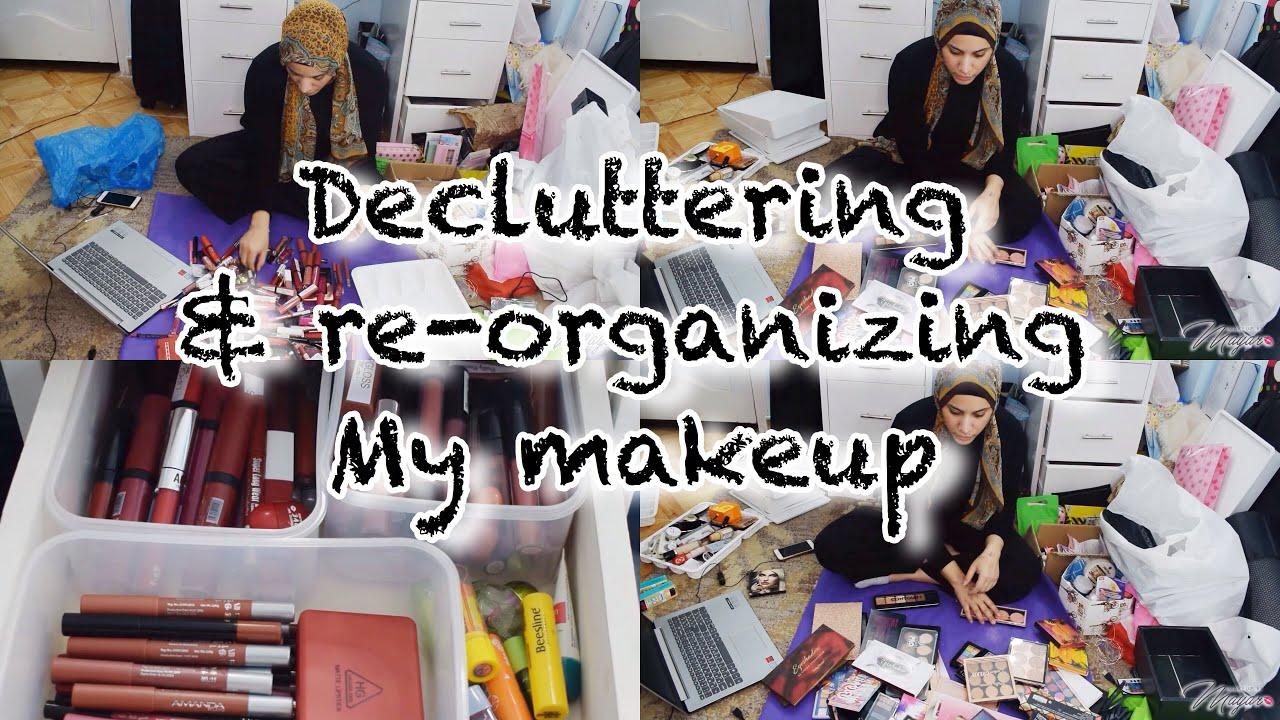 اعادة تنظيم و تقليل مكياجي (رميت مكياج كتير 😫)| decluttering & reorganizing my makeup collection