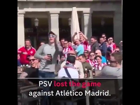 Fans abuse & throw money at beggers in Madrid