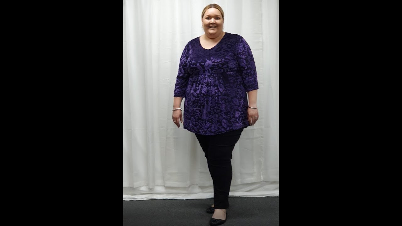 Plus Size Purple Burn Out Velvet Tunic Top