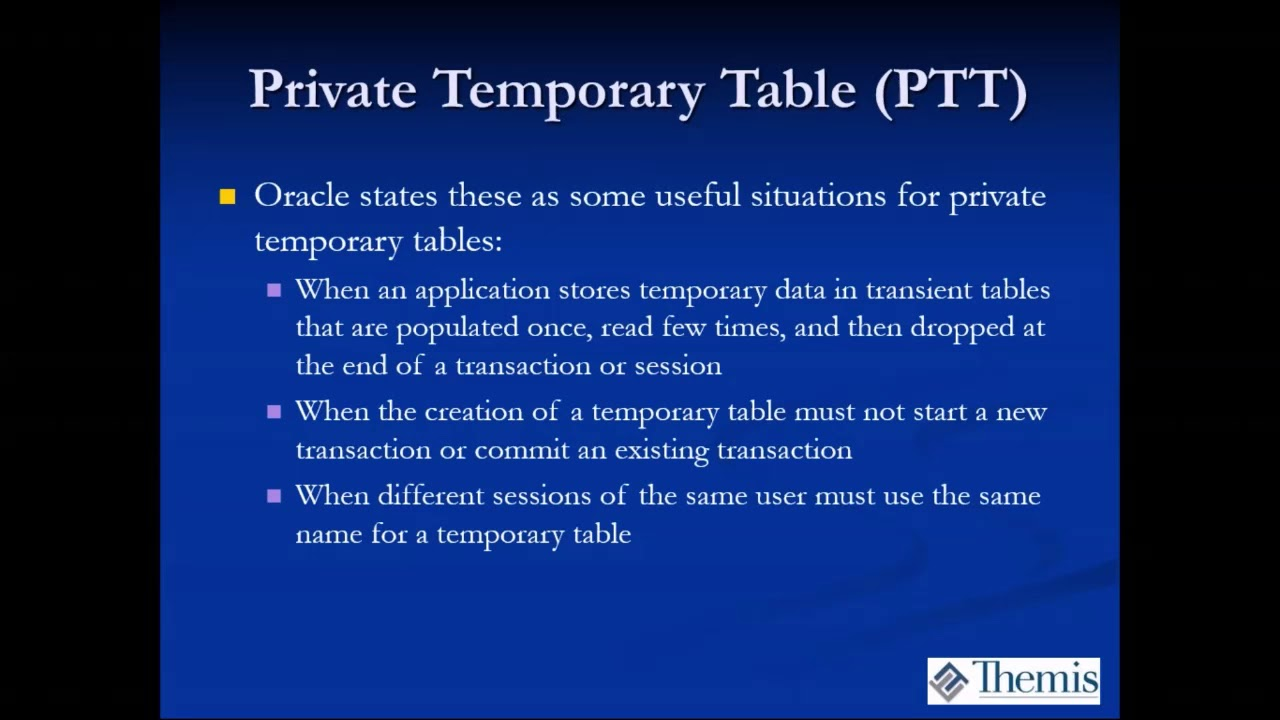 Oracle 18c New Feature Focus - Private Temporary Tables