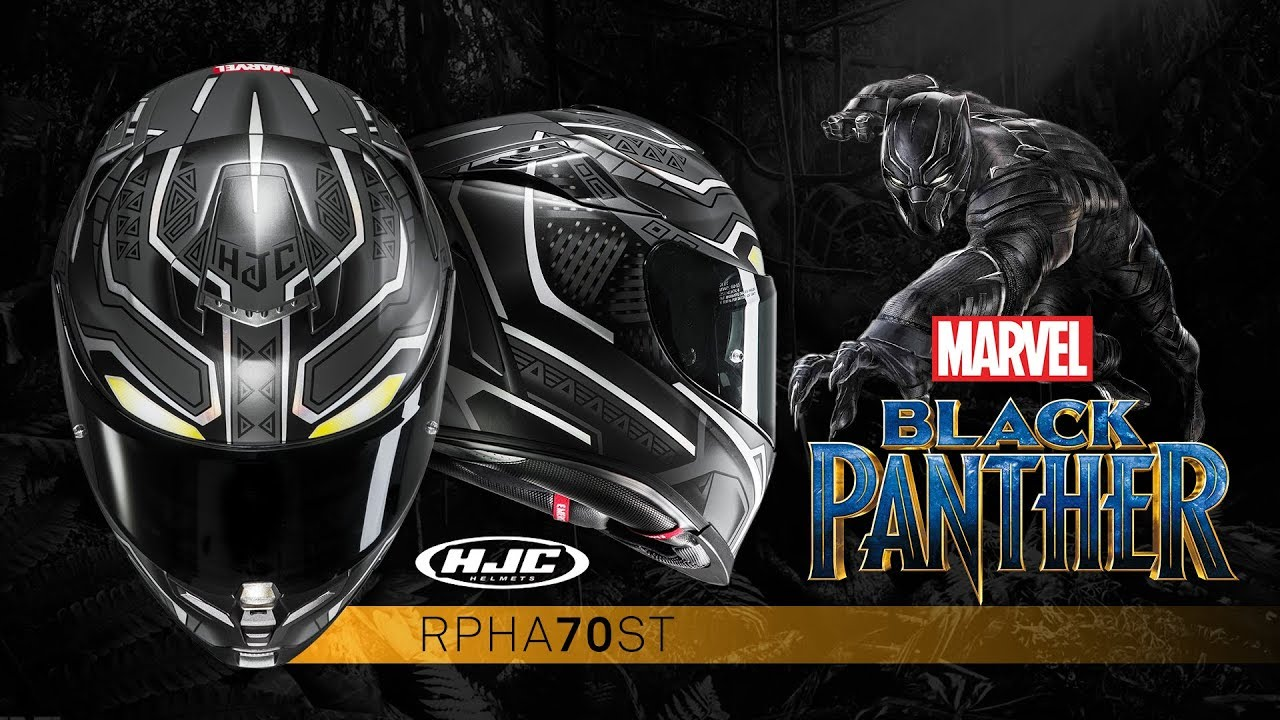 hjc marvel rpha 70 black panther helmet youtube. Black Bedroom Furniture Sets. Home Design Ideas