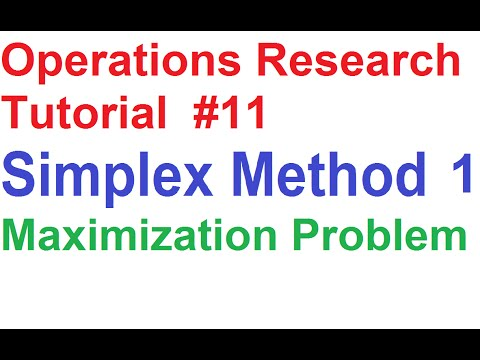 Operations Research Tutorial #11: Simplex Method 1_Maximization Problem Explained
