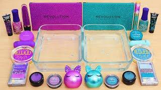 Purple vs Teal Green - Mixing Makeup Eyeshadow Into Slime ASMR