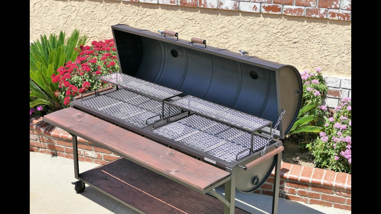 Side By Barbecue Grill With Removable Hood