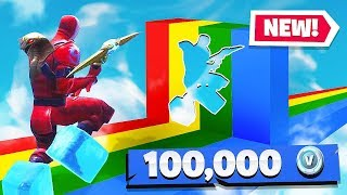 If you WIN, you Get 100k VBUCKS (Fortnite Rainbow Slide Deathrun)
