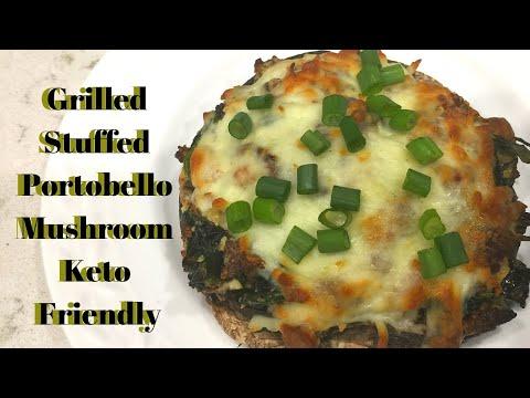 Grilled Stuffed Portobello Mushroom Recipe Keto Friendly