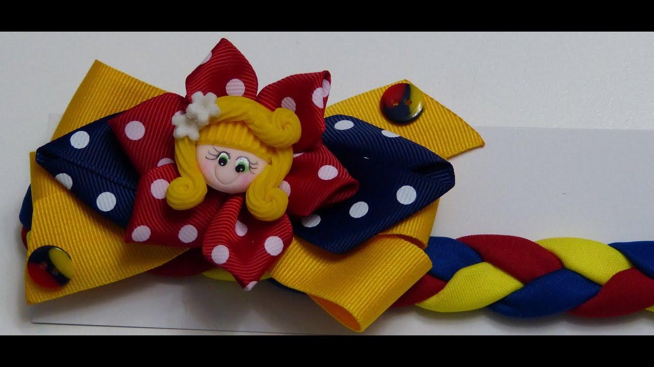 Balaca tricolor colombiana en tela trenzada y decorada con - Lazos con cintas ...