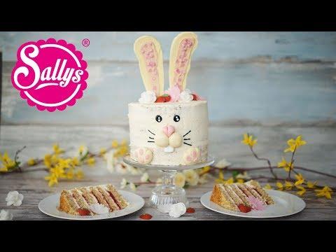 Osterhasen Torte mit Erdbeerfüllung und Quarkcreme / Sallys Welt