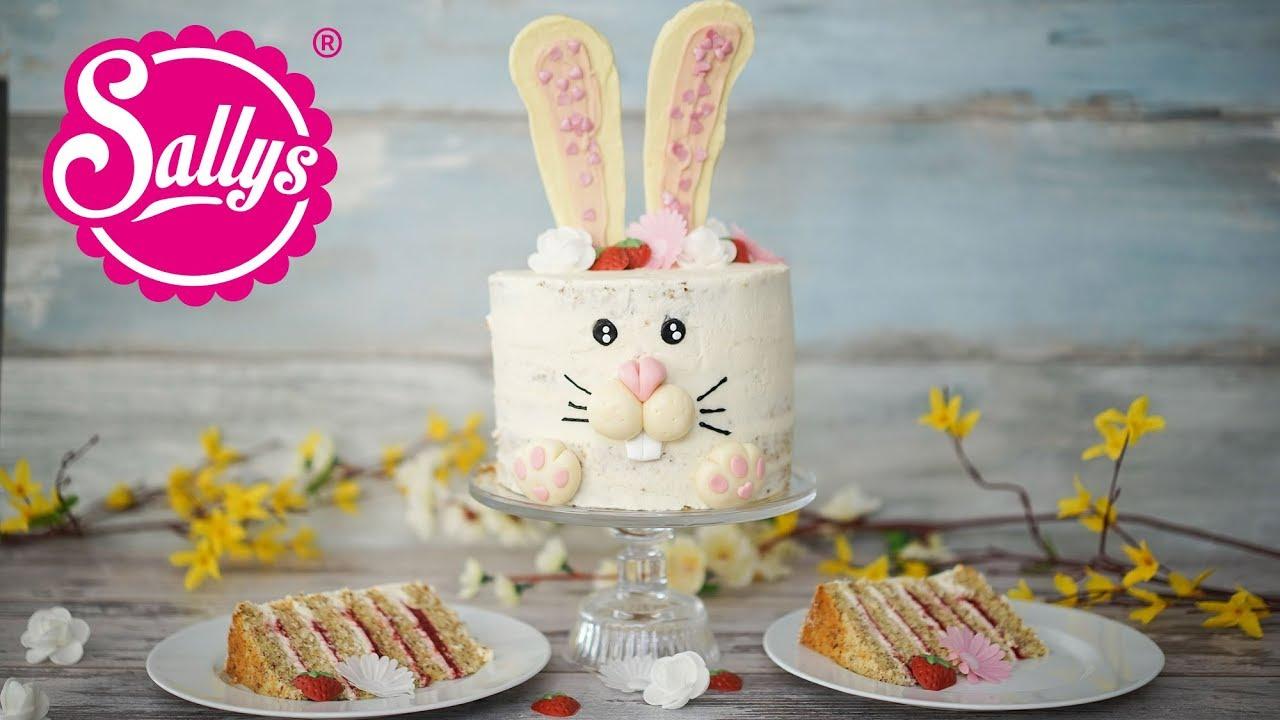 Osterhasen Torte mit Erdbeerfüllung und Quarkcreme