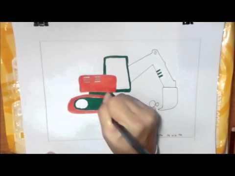 รถจก ตักดิน วาดภาพระบายสี,drawing excavator digging