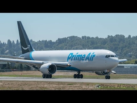 Amazon Prime Air 767 First Flight for SeaFair at Boeing Field