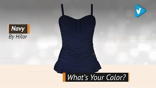 Hilor Women's 50's Retro Ruched Tankini Swimsuit Top With Ruffle Hem - Color Collection