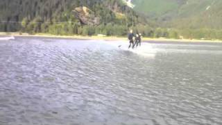 Stand up paddlesurfing turnagain bore tide in Alaska.