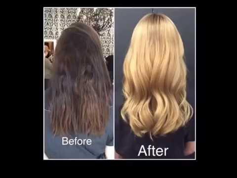 Окраска волос из брюнетки в блондинку