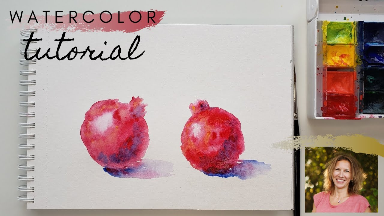 How to paint watercolor pomegranates, very easy and fun!