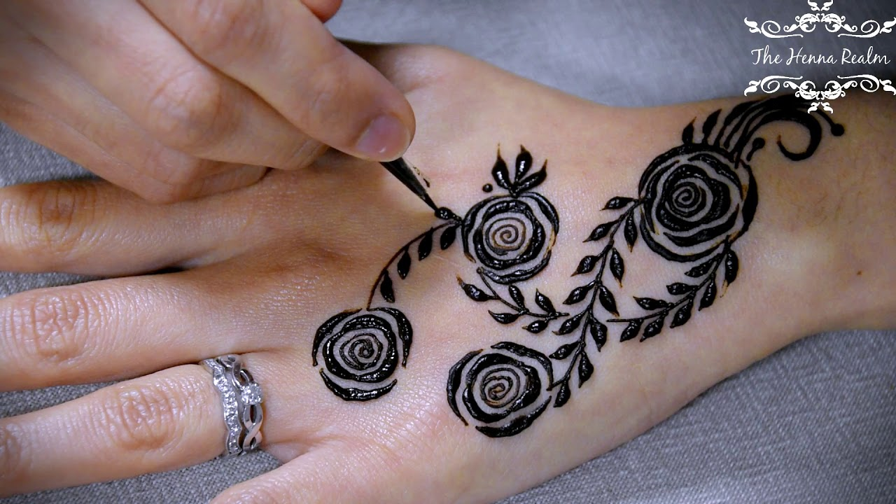 Bed Of Roses Vines Henna Tutorial The Henna Realm Youtube