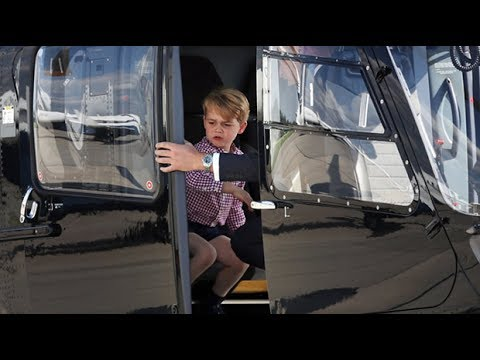 Prince George sits in helicopter pilot's seat before Royals head home