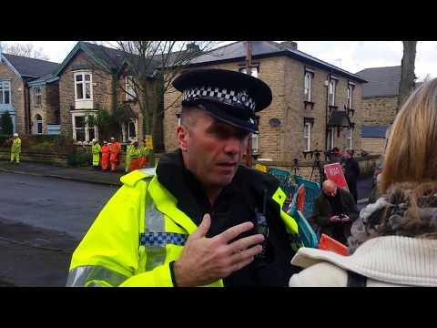 Sheffield Tree Action Group members being moved from private land by SYP