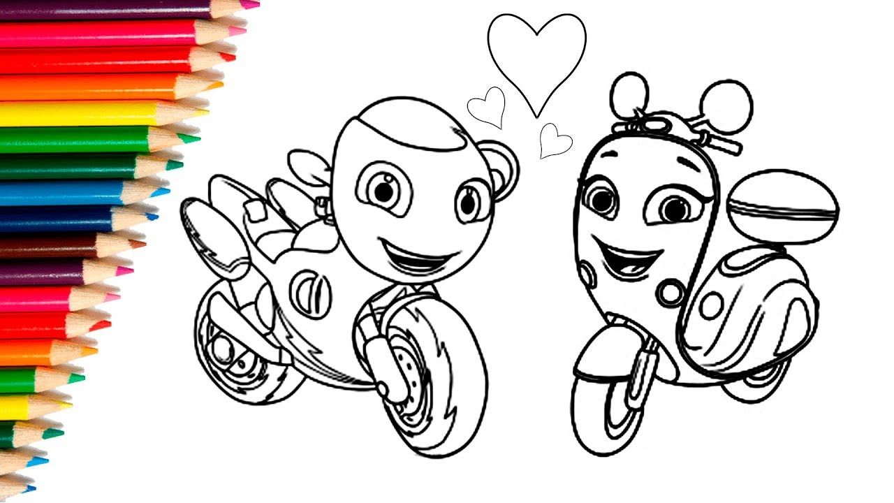 Learn How To Draw Ricky Zoom With Scootio Coloring Motocycle