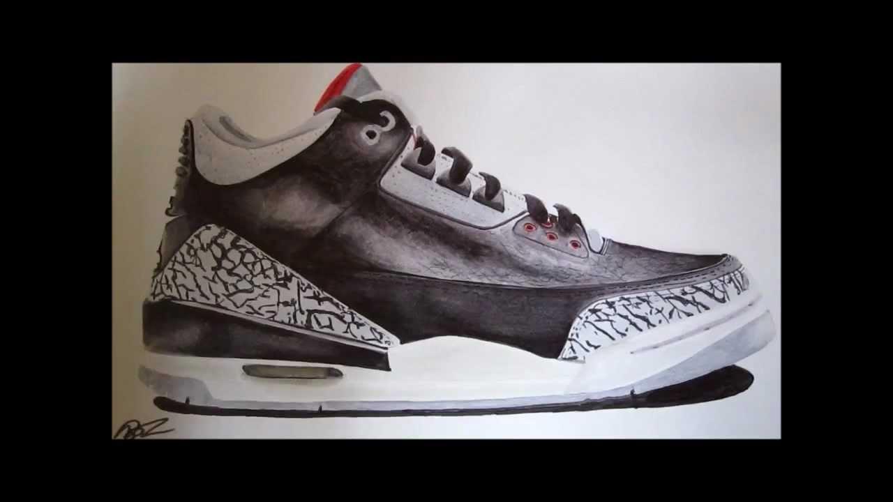 90c8be45575 Jordan 3 black cement OG DRAWING! Marker - YouTube