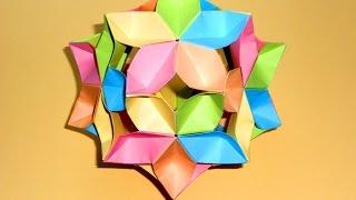 Шар кусудама из бумаги Новогоднее украшение на елку