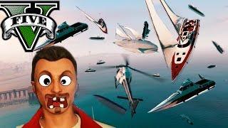 GTA V Online - LLUVIA DE BARCOS!! LOL XD - Persecución con ...