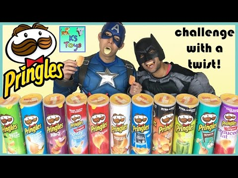 PRINGLES CHALLENGE with a Twist Food Tasting w/ Captain America and Batman Egg | Kids Surprise Toys
