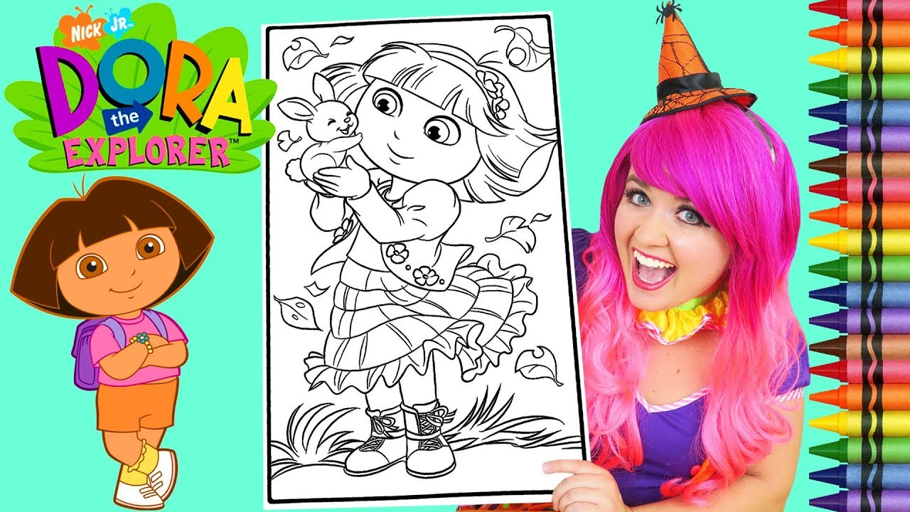 Coloring Dora The Explorer Autumn GIANT Coloring Book Page Crayola ...