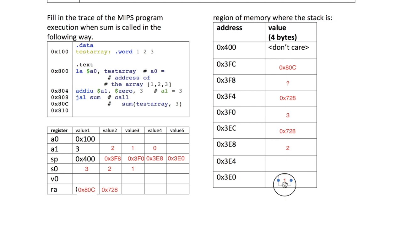 Tracing a recursive function call in MIPS
