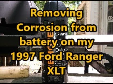 Ford Ranger Battery Cleaning with wire brush and cleaner.