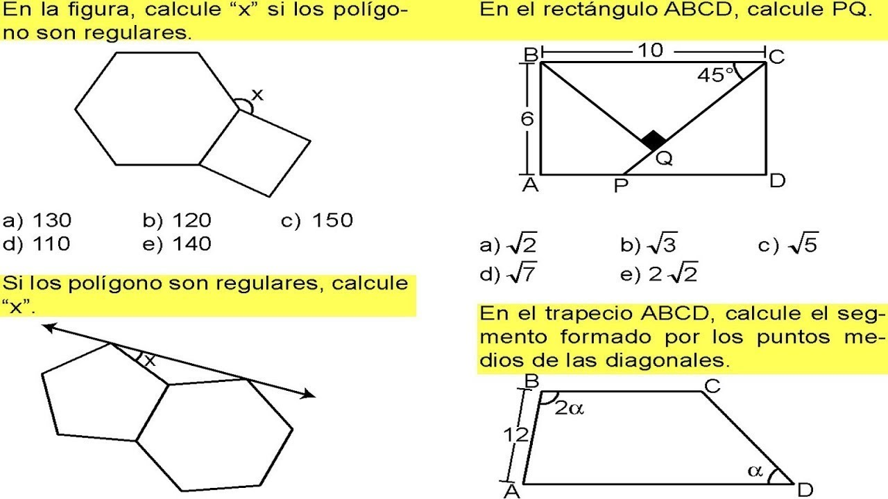 Ejercicios de trapecios geometria resueltos