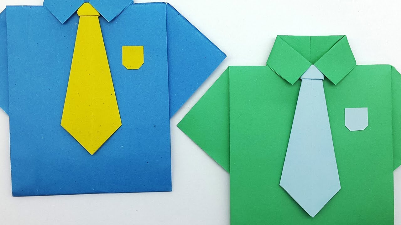 DIY Father's Day Shirt Card - Origami Shirt & Tie Craft | 720x1280