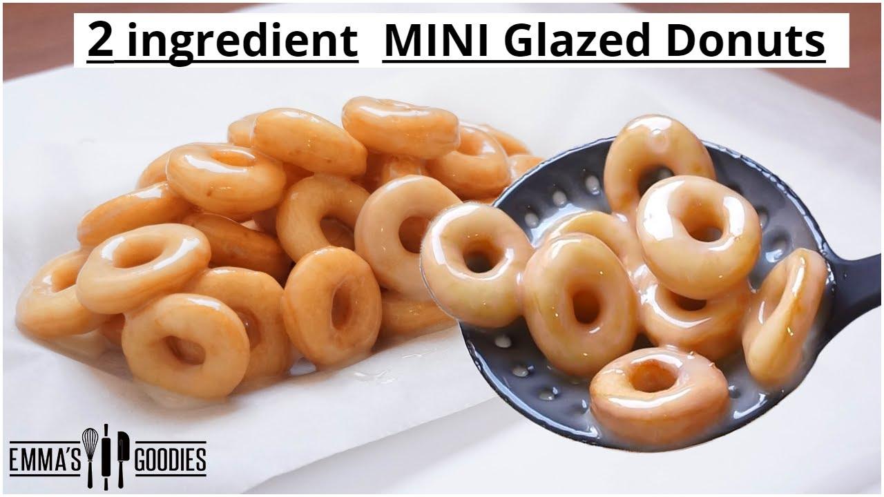 2 Ingredient MINI Fluffy Glazed Donuts Recipe ! Easy Doughnuts Recipe