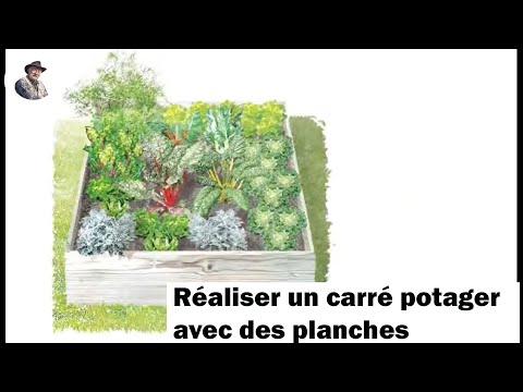 R aliser un carr potager avec des planches youtube - Creer des bacs de jardin avec des palettes ...