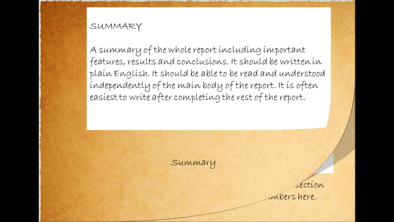 Tips on Writing a Good Technical Report