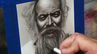Timelaps مصغرة صورة الرجل العجوز على ورقة الاصطناعية. Createx الأشرار الألوان + البخاخة