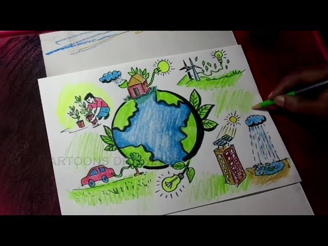 How to Draw Ecological Conservation / Environment conservation Poster Drawing for Kids