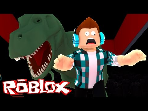 Roblox - UM DINOSSAURO ME COMEU !! ( Fuja do Cinema Roblox )