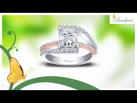 Barkev's Classic Two Tone Princess Cut Engagement Ring
