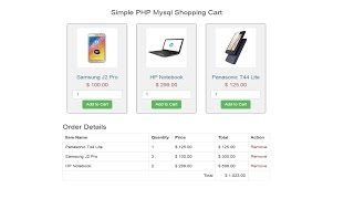 create simple shopping cart using php mysql