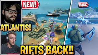 "Streamers Land at *NEW* ""ATLANTIS"" Location & RIFTS *BACK* to Fortnite Update (Coral Castle)"